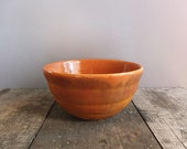 Vintage Orange Farmhouse Bowl / Antique Rustic Mixing Bowl