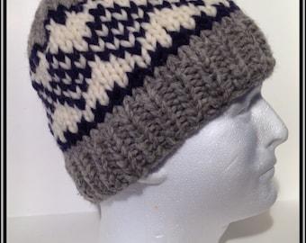 "Vintage Canadian Style Wool Toque ""Diamonds"""