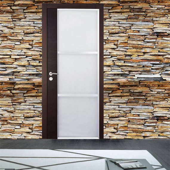 Paper Wall Panels : Stone panel seamless wall paper removable peel and stick
