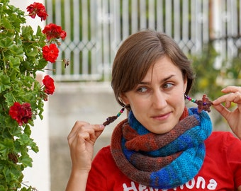 Mohair blue, turquoise, red brown and brown shawl, scarf, snood, neckwarmer with flowery earrings