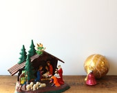 Vintage miniature hard plastic nativity - made in Germany - full holy family with manger - retro Christmas decoration