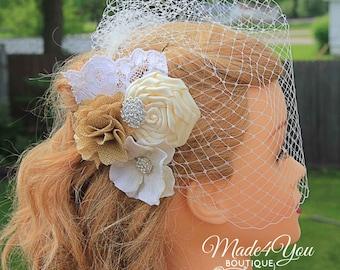 53 Different Colors-Burlap Ivory Wedding Veil - Birdcage Wedding Veil - Wedding Headpiece