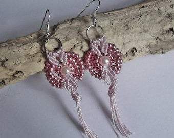 Micro macrame earrings. Pink earrings. Tassel earrings
