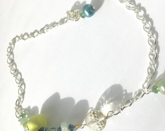 Tink,Green dress, Citrine, Green Pearl, Turquoise Pearl, lightweight, Sterling silver Bracelet, Feminine , Delicate,