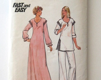 1970s Nightgown and Pajamas Pattern Butterick 5701, Womens Sleepwear Loungewear Top Pants Sewing Pattern Size Small Bust 31.5-32.5