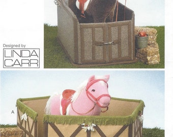 Linda Carr Toy Horse Corral and Stall Vogue Sewing Pattern V9195 UnCut Vogue Craft Pattern for Pony Stall and Corral