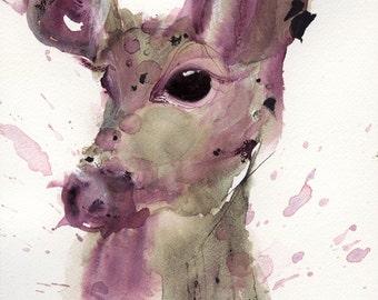 Deer Art, 8 x 10 Woodland Art Print, Deer, Doe, Wildlife Art Print
