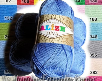 Set of 5 skeins hypoallergenic baby yarn Alize Diva with Silk Effect. Microfiber. Sport weight 4ply. Various Vibrant colours. Wholesale DSH