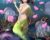 Mermaid - Original 4x6 or 8x10 Digital Print by WiskyLittle