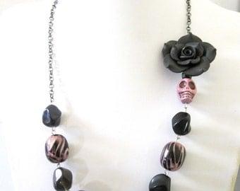 Sugar Skull Necklace Day of the Dead Jewelry Purple Black Zebra Striped