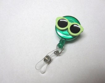Green Sunglasses Retractable ID Badge Reel Optometrist Name Tag Holder