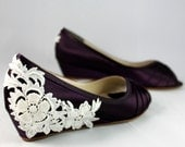 Wedding Shoes Wedge Low heel -- 1 inch Ivory Lace wedge shoes-- For Mackenzie claytor
