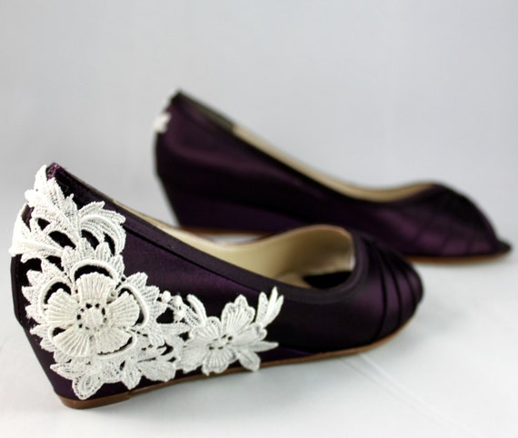 Wedding Shoes Wedge Low Heel 1 Inch Ivory Lace Wedge