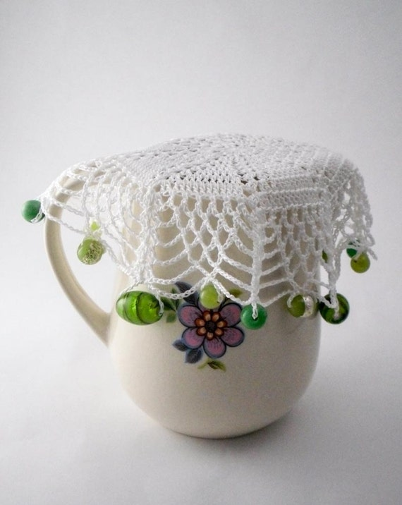 Crochet Patterns Jug Covers : White Crochet Beaded Jug Cover with Green Beads, Beaded Glass Cover ...