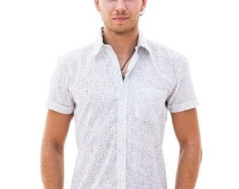 Labyrinth Pattern Shirt For Men, Button Up Shirt, Button Down, 100% Cotton, Short Sleeves, White Mens Shirt