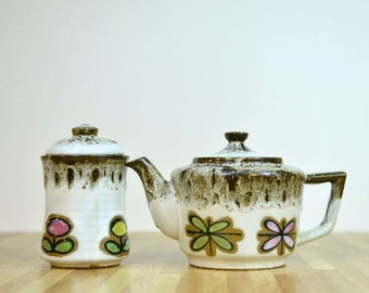 Vintage Japanese Teapot and Covered Sugar Bowl Jar with Spoon Ceramic Drip Glaze