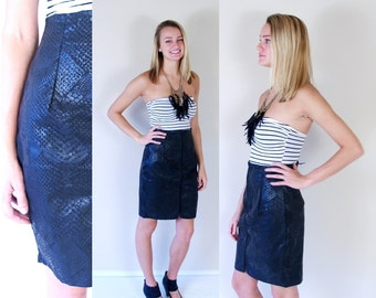 vtg 80s SNAKESKIN Print zip up CORSET SKIRT Medium mini tight high waisted rocker fitted faux leather punk motorcycle indie dress