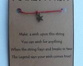 A/b Small STAR WISH STRING Bracelet Charm Band Cord Color Choice Friendship Bracelet