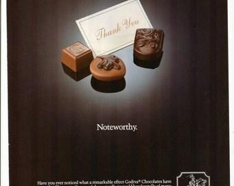 1991 Advertisement Godiva Chocolates Thank You Gift Black Gold Cafe Coffee Shop Store Candy Chocolatier Restaurant Wall Art Decor