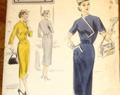 Vogue Special Design 4207 Sheath Dress Asymmetrical Bodice Flap Womens Misses Vintage 1950s Unprinted Sewing Pattern Bust 30 Hip 33 Complete