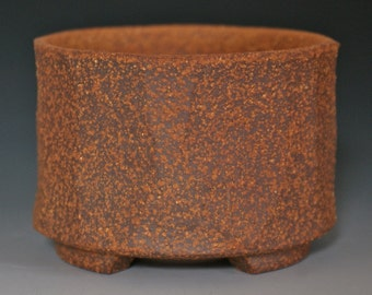 Small Faceted Red Stoneware Bonsai Planter