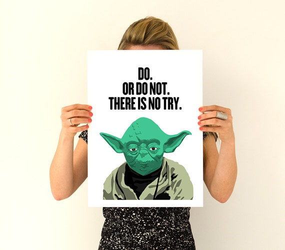 Yoda poster , Encouraging gift Wall Art- Star wars inspired Art, Wall Hanging star wars ,wall decor TYQ047WA3