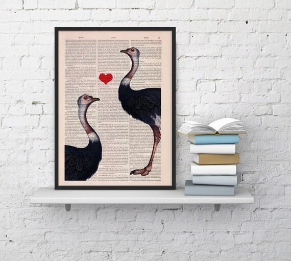 Spring Sale Dictionary art print Ostriches in love Wall hanging girfriend gift art Wall decor ostrich print decorative art BPAN195