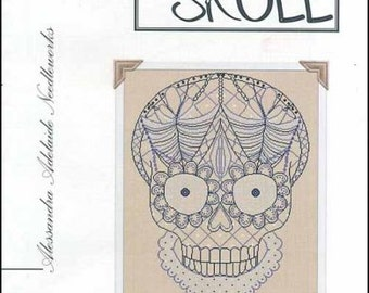 NEW Lace Skull : Alessandra Adelaide Needleworks counted cross stitch patterns Halloween embroidery The Cottage Needle