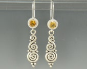 Sterling Silver Citrine Earrings- One of a Kind