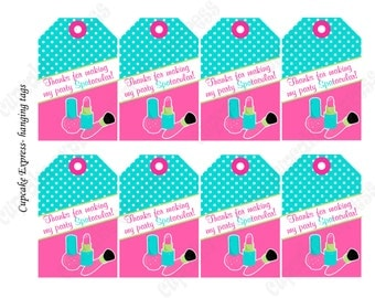 Girls Spa Birthday Party PRINTABLE Hanging Thank You Tags pedi manicure facials  pink teal lime green DIY Instant Download