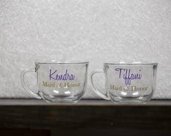 Bridesmaids gift idea, personalized glass Coffee mug. Custom wedding tea cup. Bride, Bridesmaid, Maid of Honor gifts. Bridesmaid gift idea.