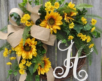 Spring / Summer Wreath, Wreath for Spring / Summer, Burlap Sunflower Wreath, Burlap Spring Monogram Wreath, Wreath with Letter, Horn's