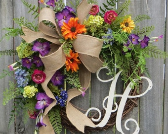 Spring Monogram Wreath, Summer Spring Wreath, Burlap Wreath for Spring and Summer, Wreath with Letter, Purple Petunia, Orange, Monogram