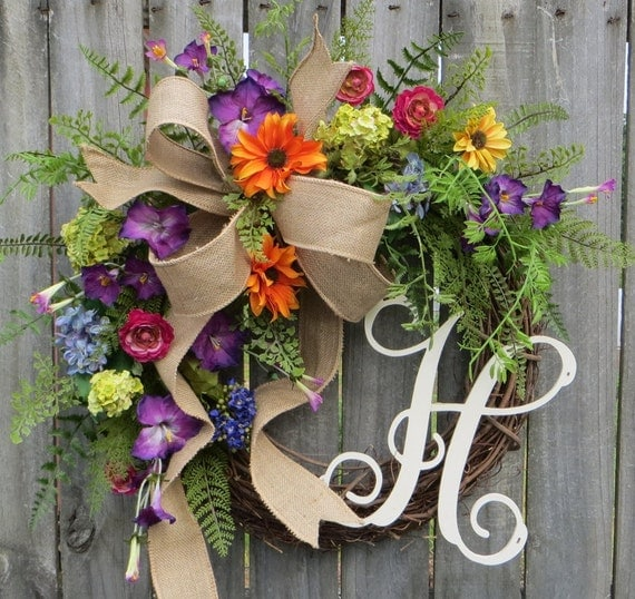 Spring Monogram Wreath, Summer Spring Wreath, Burlap Wreath for Spring and Summer, Wreath with Letter, Purple Petunia, Orange, Monogram