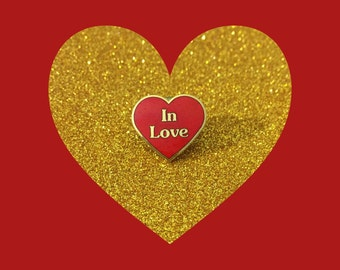 """1980's Enameled Red Heart Pin That Says """"In Love"""" ~ Authentic Vintage 80's Items At Hope Knows Vintage"""