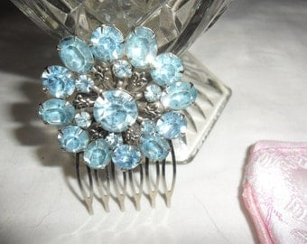Authentic Vintage Beautiful Blue Rhinestone Circle Silver Hair Comb WEDDING, PROM, BRIDE