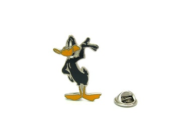 Daffy Duck Pin. Enamel Hat or Lapel Pin. Looney Tunes by Warner Brothers.  Vintage 1990's Cartoon Character Jewelry.