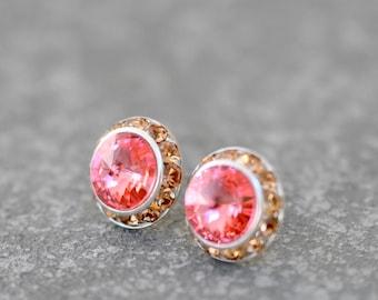 Peach Pink Earrings Swarovski Crystal Watermelon Dark Champagne Rhinestone Stud Post Earrings Sugar Sparklers Mashugana