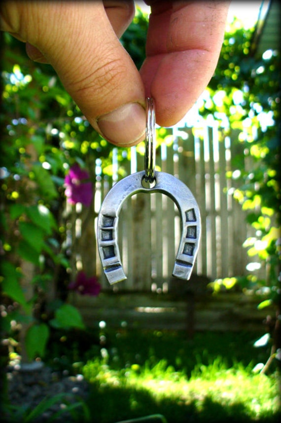 HORSESHOE KEYCHAIN ( Hand Forged by a Blacksmith ) Personalized Option - 6th Year Wedding Anniversary Gift Idea - Cowboy Cowgirl Horse Shoe