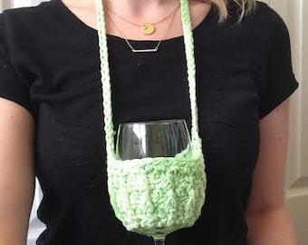 Multi Green Ribbed Woozie / Wine Coozie / Snifter Coozie / Necklace Coozie