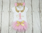 first birthday outfit, girl 1st birthday outfit, pink and gold outfit, girl birthday outfit, glitter gold outfit, sparkle gold, posh peanut