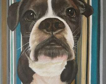 12x12 custom dog pet portrait on canvas painting from photo acrylic original art