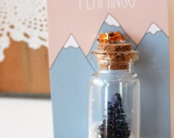 Dip Dyed Tiny Tree in Tiny Corked Bottle Charm or Ornament