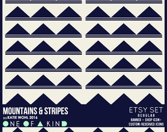Mountains and Stripes - banner & shop icon set