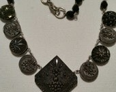 ANTIQUE BUTTON NECKLACE Black Glass with Silver Lustre Awesome Detail Cut Steel and Fabulous Center Button