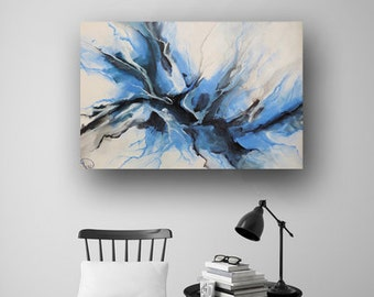 Abstract Painting, Large Original Painting on Canvas, Cerulean Blue Painting, Professional Painting, Fluid Painting, 36x24 Heather Day