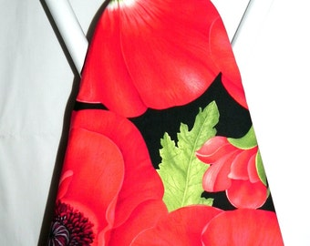 Ironing Board Cover - Poppies in red, green and black