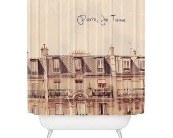 Romantic dreamy Paris Je T'aime shower curtain, pretty pink Paris apartments gift idea, shabby chic French décor, guest bathroom accessory