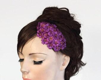 Retro Purple Bridal Headpiece, Wedding Hair Fascinator, Mini Cap Hat, Periwinkle Flower Hairpiece Head Piece, OOAK, Spring Romantic Wedding
