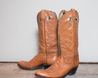 12 B   Men's Dan Post Tall Buckaroo Western Botos in Honey Brown